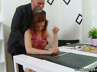 Virgin young generalized Sveta goes nuts as older plump man fucks her well