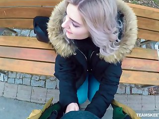Naughty Russian teen Eva Elfie gives a blowjob anent public for money