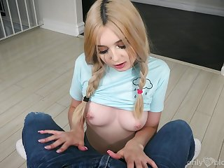 Cute teen with pierced nipples Lexi Lore can suck you off like a champ