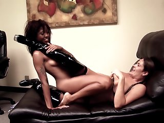 Erotic lesbian tryout on a leather couch be beneficial to two naked women