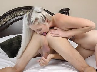 Horny blonde nympho Kay Porter is hammered doggy style before riding cock