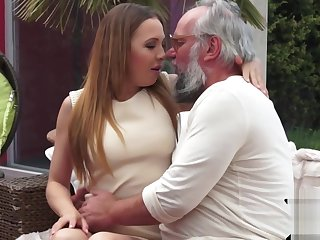 19yo fair-haired babe takes grandpas load of shit